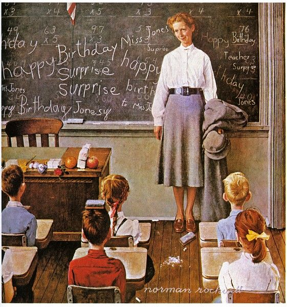 Norman Rockwell  Love, love this picture. I'll send this postcard to my mother who teaches at elementary school.