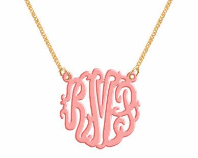 Monogram Necklace   Acrylic  Necklace. $22.00, via Etsy.  I was really looking for gold, but I like the pop of color!!: Color, Monograms Necklace