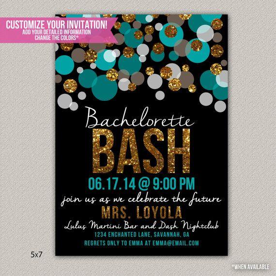 Bachelorette Bash Bachelorette Party Invitation - Custom Bridal Shower Invitation - DIGITAL -  DIY Printable Invitation on Etsy, $18.00 or $25 (Front and Back)