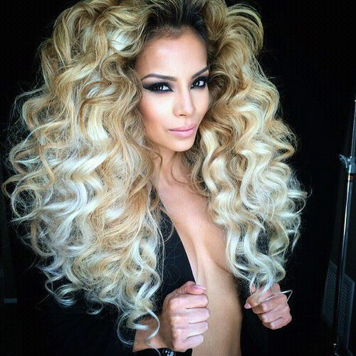 Big Hair Style Blonde Brown Highlights Curls Wavy Curly