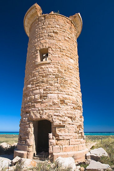 Point Cloates Lighthouse at Ningaloo Reef/Western Australia.  Built in 1910 at Ningaloo Station, it was severely damaged in the mid-1930s and sold to the owners of the property it is located on for £5. The site can be visited by permission.
