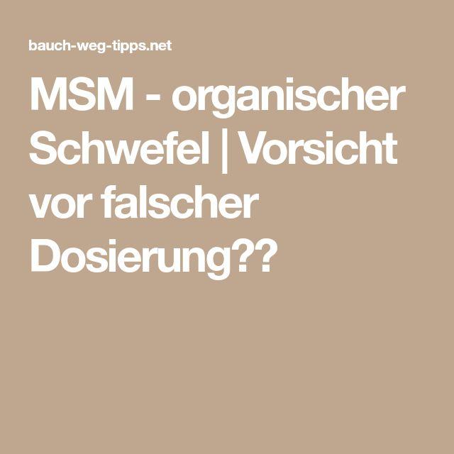 MSM - organischer Schwefel | Vorsicht vor falscher Dosierung❗️