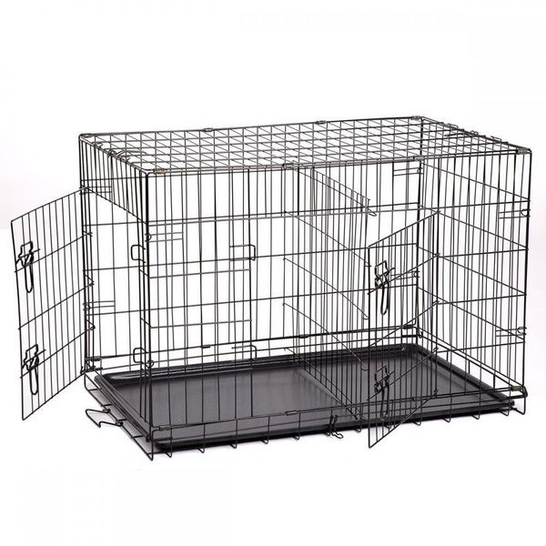 24 48 Pet Kennel Cat Dog Folding Crate Wire Metal Cage W