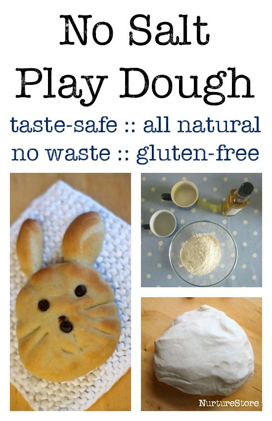 No salt play dough recipe :: homemade play dough, all natural ingredients, taste safe, gluten free option