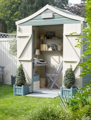 Convert your garden shed Think outside the box. With a little imagination and a tin of paint, a dusty old toolshed can be transformed into a really special and fun work area...I like it better as a garden shed...