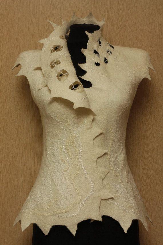 Soft nets / Felted Clothing Vest / SPECIAL PRICE by LybaV on Etsy, $150.00