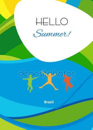 Download - Rio 2016 abstract summer background. Rio 2016 Brazil wallpaper. Olympic games. Summer color of Olympic games 2016. Summer Sport. Hello Summer Abstract brochure background with jumping kids. Summer design. Vector template — Stock Illustration #114366646