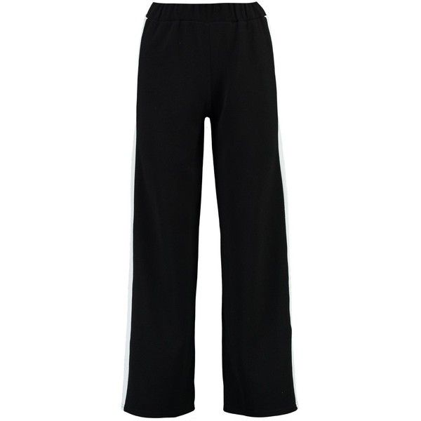 Boohoo Petite Eve Contrast Panel Wide Leg Relaxed Trouser ($26) ❤ liked on Polyvore featuring pants, petite wide leg trousers, petite pants, relaxed fit pants, petite wide leg pants and relaxed pants