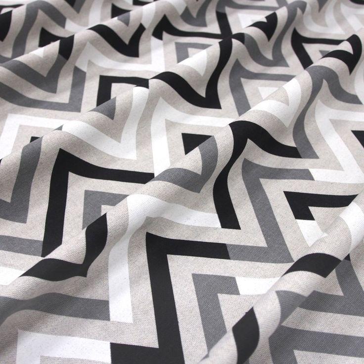 dekorační látka černobílý geometrický vzor