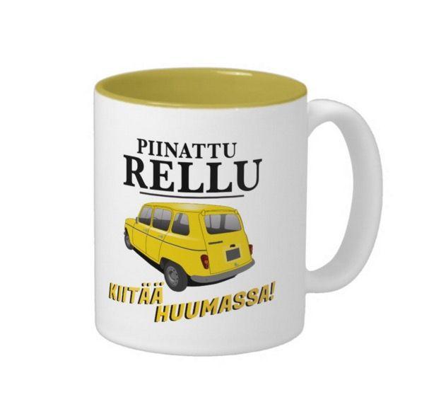 Piinattu Rellu kiitää huumassa! Sellaisia ne piinatut rellut ovat, hyvin kulkevat.   http://suomileijonapaidat.blogspot.fi/2016/03/piinattu-rellu-kiitaa-huumassa-renault.html  #sananmuunnos #huumori #muki #kahvimuki #renault #piinatturellu #suomi #suomalainen #hauska