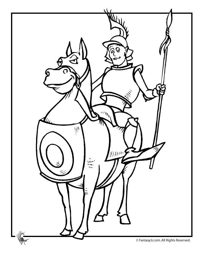 152 best images about medieval madness on pinterest for Knight on horse coloring page