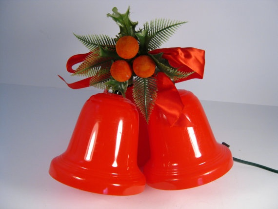 Christmas Blow Molds >> Retro Red Plastic Lighted Christmas Bells - Three Christmas Bell Lights | Christmas bells ...
