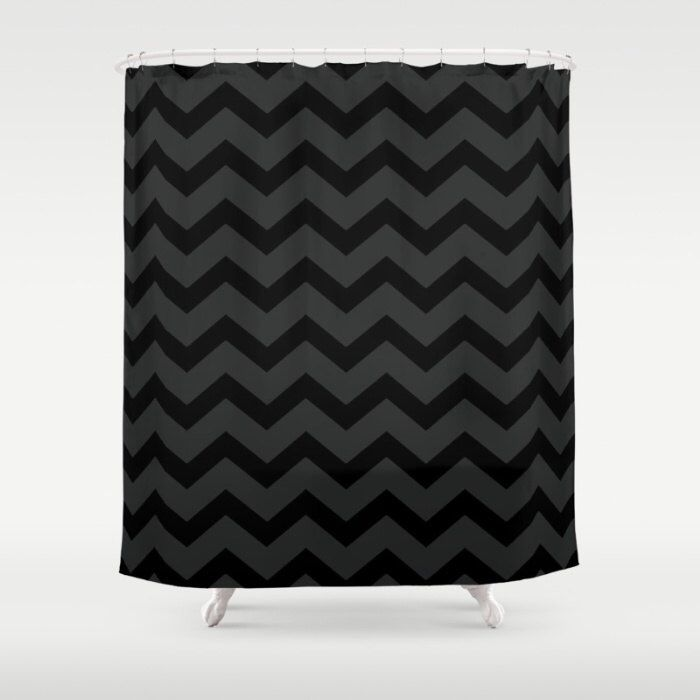 Black and Grey Chevron Shower Curtain - Black Shower Curtain - Dark Grey Bathroom Decor - Made to Order by ShelleysCrochetOle on Etsy https://www.etsy.com/listing/262679619/black-and-grey-chevron-shower-curtain