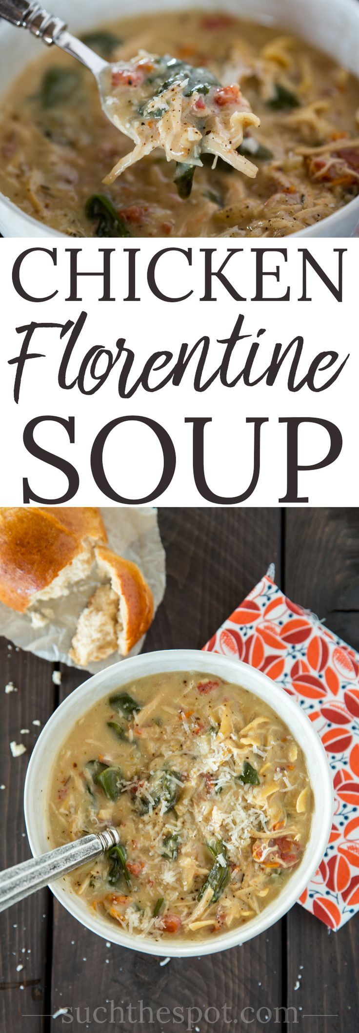 When I'm in the mood for a creamy comfort food, I turn to this Chicken Florentine soups recipe. It's healthy because it's made with all real food ingredients and it's easy because it's made in a slow cooker or Instant Pot.#soups