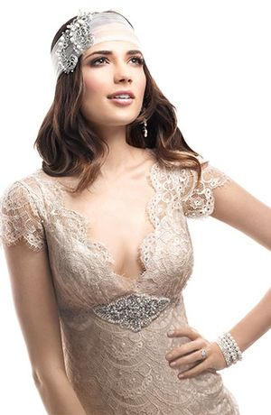 Maggie Sottero - V-Neck Sheath Gown in Lace