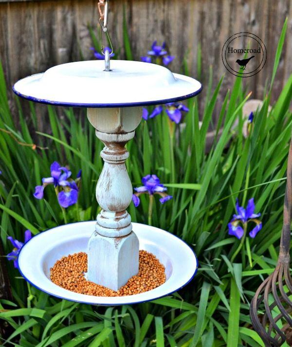 enamelware bird feeder