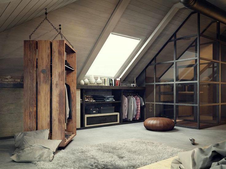 Спальня в цветах: черный, серый, светло-серый, белый, коричневый. Спальня в стиле лофт.