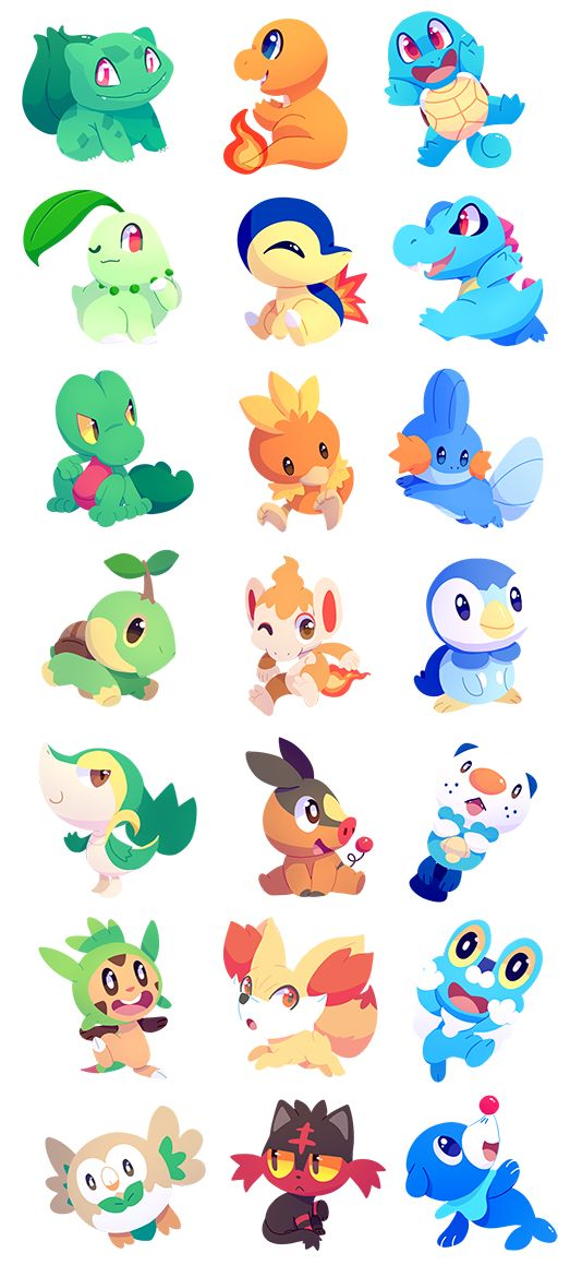 all the current starters! available as stickers at Otakuthon from August 5-7! will also be added to my store at a later date!