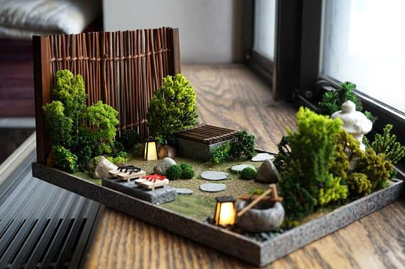 Miniature 1 12 Japanese Garden Diorama Roombox Lanterns Dolls