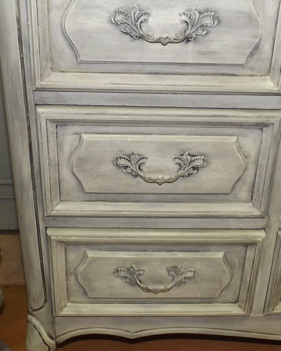 Vintage Hand Painted Shabby French Country Cottage Chic Weathered Grey French Provencal Dresser/Buffet