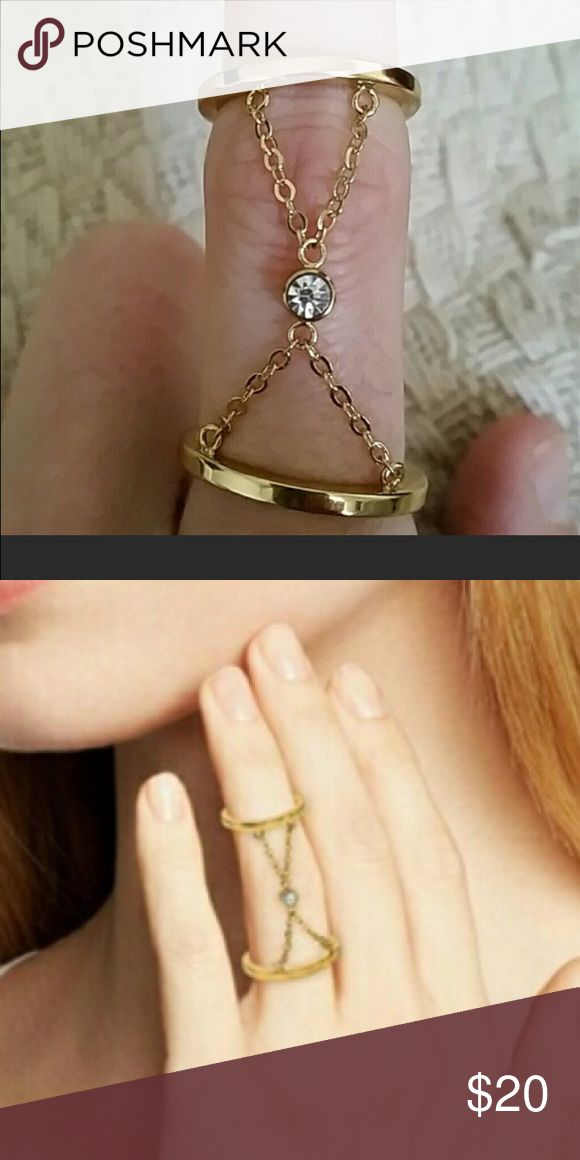 Rebecca Minkoff ring size 7 Rebecca Minkoff ring size 7, loved this ring when I bought it, but does not look good on my short stubby fingers 😥. Double ring gold with clear stone in the middle. Rebecca Minkoff Jewelry Rings