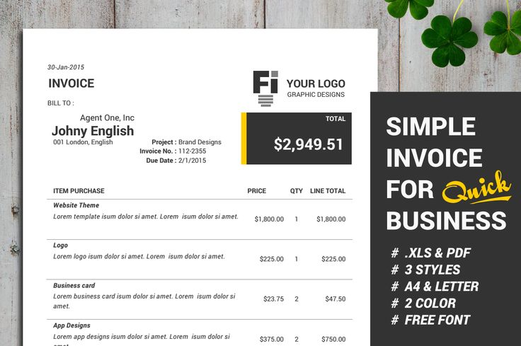 FREE Simple Invoice Template - Automatic Calculation on Behance