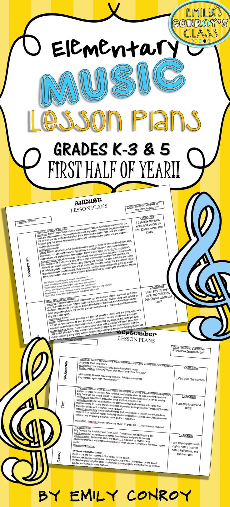 Elementary Music Lessons Plans-These plans are creative and concise and cover the months August through December. They include lessons, games, and activity ideas for a variety of musical concepts!