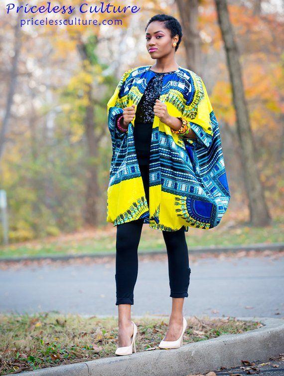a8e04c5d07b7e Dashiki Kimono Yellow Dashiki Kimono African Print Kimono African Poncho  Ethnic Kimono Free Size Kim