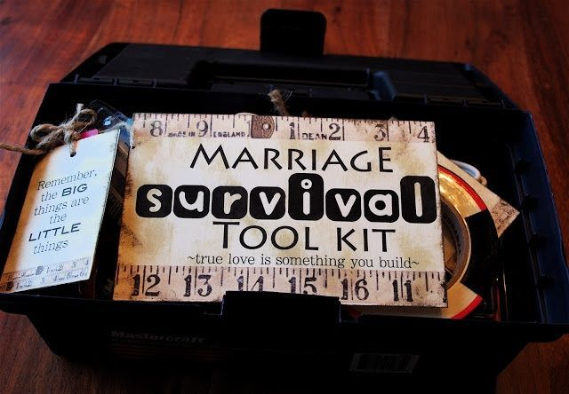 Another cute wedding gift idea (for those who may have a pricy registery):  Marriage Survival Tool Kit