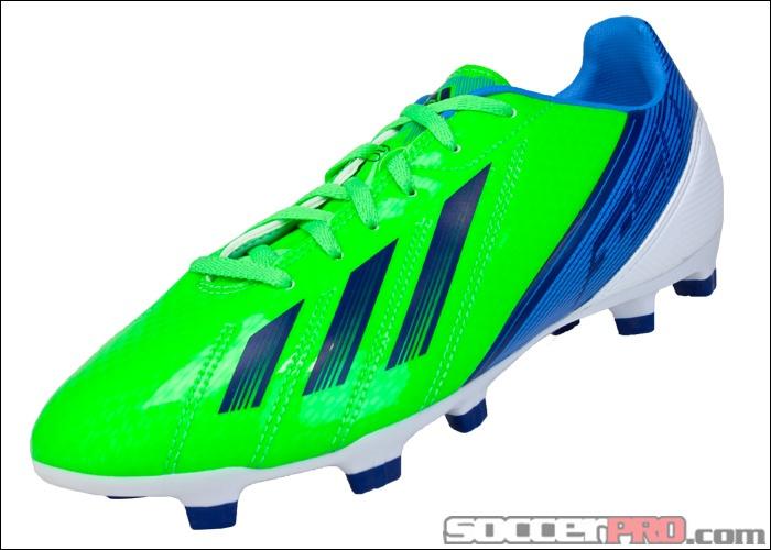 adidas Youth F10 TRX FG Soccer Cleats - Green Zest with Dark Blue.