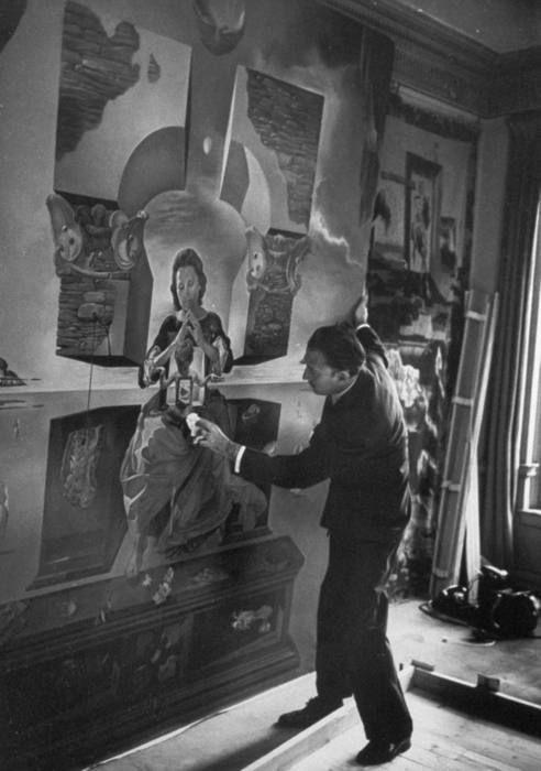 Salvador Dali in his studio (1950), photo by M. Kauffman