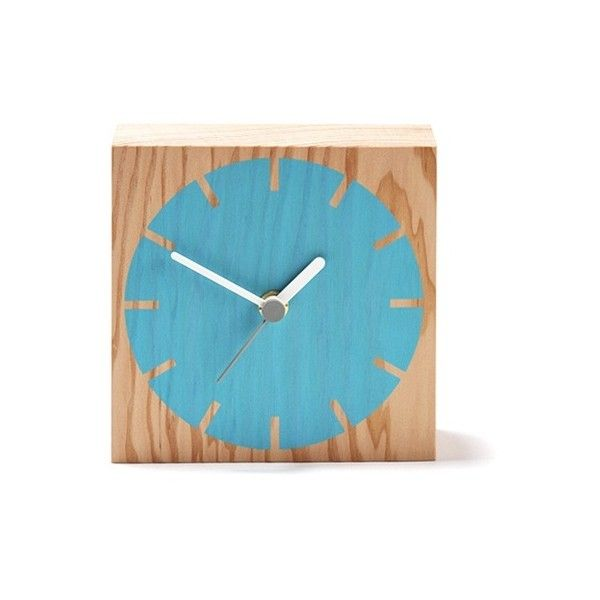 ByShop Secondary Cog Wooden Clock - Secondary Cog Clock/ Blue ($61) ❤ liked on Polyvore featuring home, home decor, clocks, black, wooden clock, wooden mantel clocks, wood mantel clock, battery operated clocks and battery clock