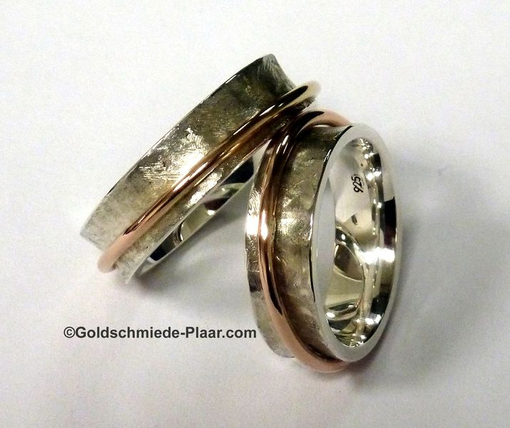 Partner- & Eheringe - 1 Paar Trauringe, Rollringe Silber mit Rotgold - ein Designerstück von Goldschmiede-Plaar-Osnabrueck bei DaWanda