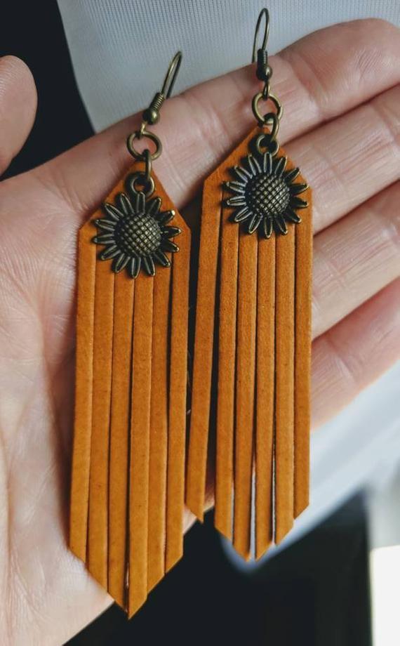 Leather Earrings – Fringe – Sunflower – Gypsy – Pierced Leather – Bohemian