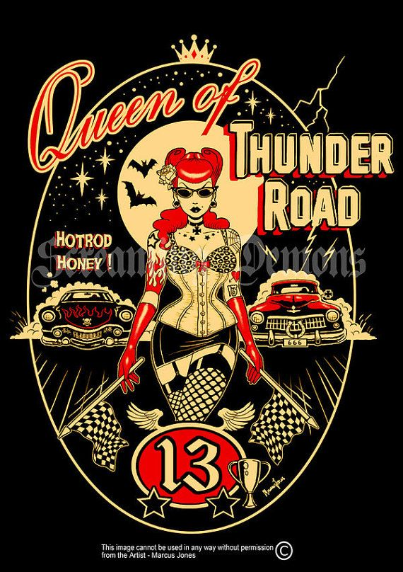 be your valentine a man or woman of your dreams they will love a unique gift for the retro pad with this vintage rock goth wall art graphic illustration print Thunder Road Rockabilly Pinup tattooed PinupArt by MarcusJonesArt