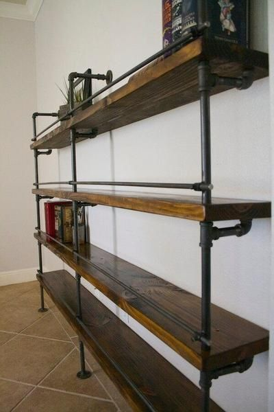 Shelving Industrial Pipe Shelving With Bottle Stop Bars