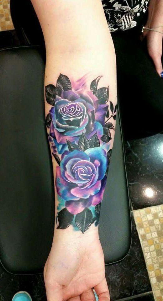12 Gorgeous Flower Tattoo Designs: #1. Feminine Tattoos – Colorful Rose Design; #tattooed