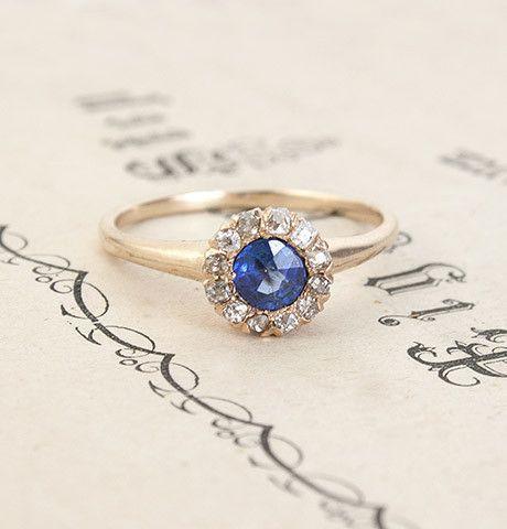 Early Twentieth Century Diamond and Sapphire Cluster Ring, $1,200.00