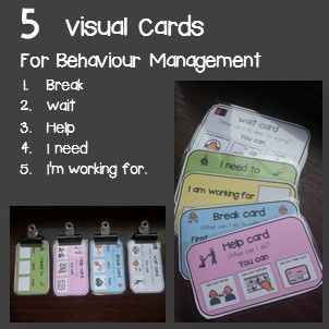 These Class cards were made a little bit bigger than the size of an index card and I placed a couple of useful visuals on them to use for students with Autism.