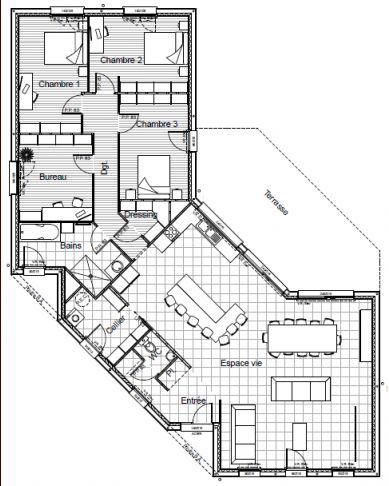 plan de maison gratuit plain pied en v