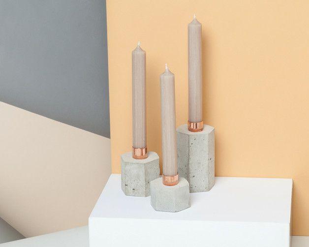 Kerzenständer - 3er-Set: Kerzenhalter aus Beton mit Kupfereinsatz - ein Designerstück von Marschland-Berlin bei DaWanda