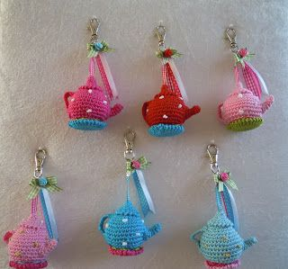 mini crochet teapots