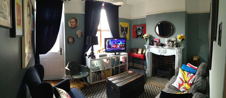 My living room. Brights on blacks! Modern, eclectic style.