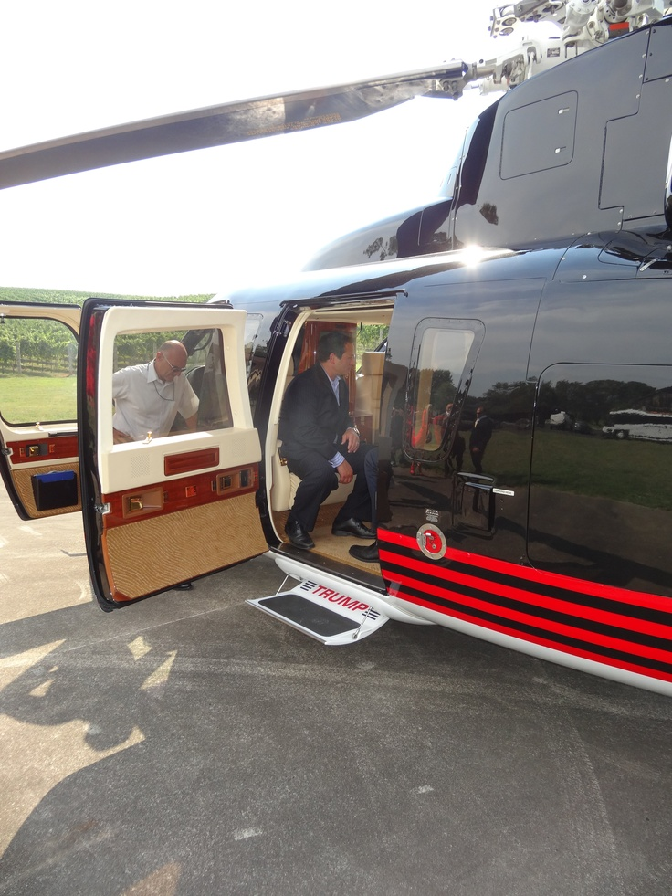 Eric Trump and JT Foxx with Students and the Trump Helicopter