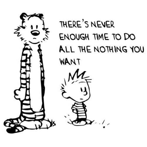 """There's never enough time to do all the nothing you want"", Words of Wisdom from Calvin and Hobbes"