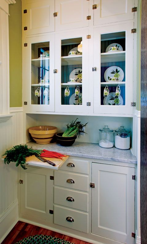 Glass doors, knook  1940s-kitchen-butlers-pantry; love the marble countertop. I can see all of my baking supplies in that little nook.