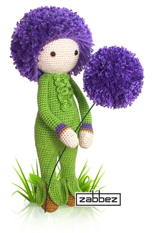 Giant Onion Otto flower doll - Allium Giganteum flower crochet pattern - amigurumi