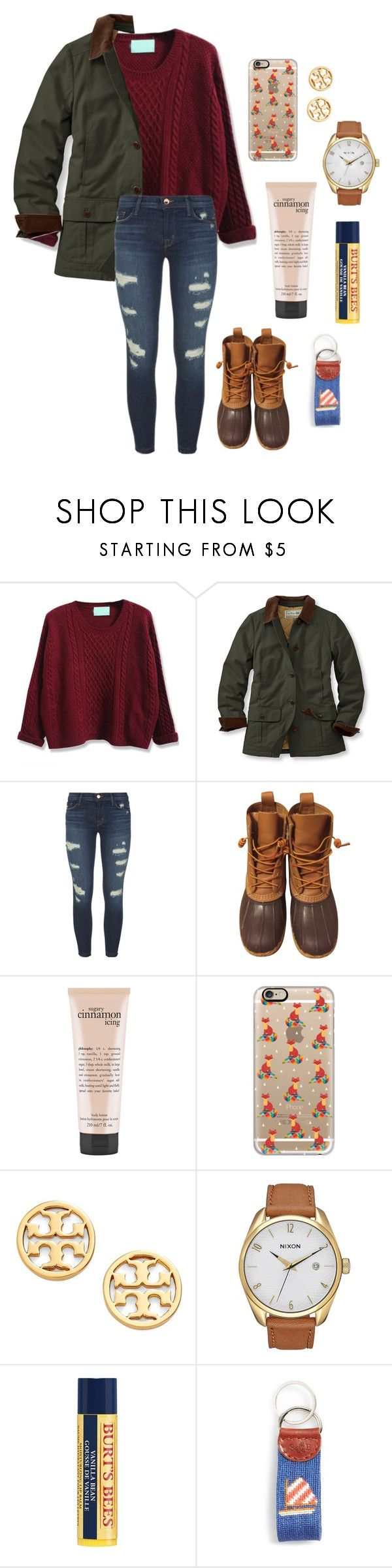 """Heading to school but its very warm??"" by southern-belle02 ❤ liked on Polyvore featuring L.L.Bean, J Brand, philosophy, Casetify, Tory Burch, Nixon, Burt's Bees and Smathers & Branson"