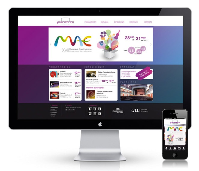 Diseño web para el Teatro Paraninfo - La Laguna, Tenerife.:  Internet Site,  Website, Web Site