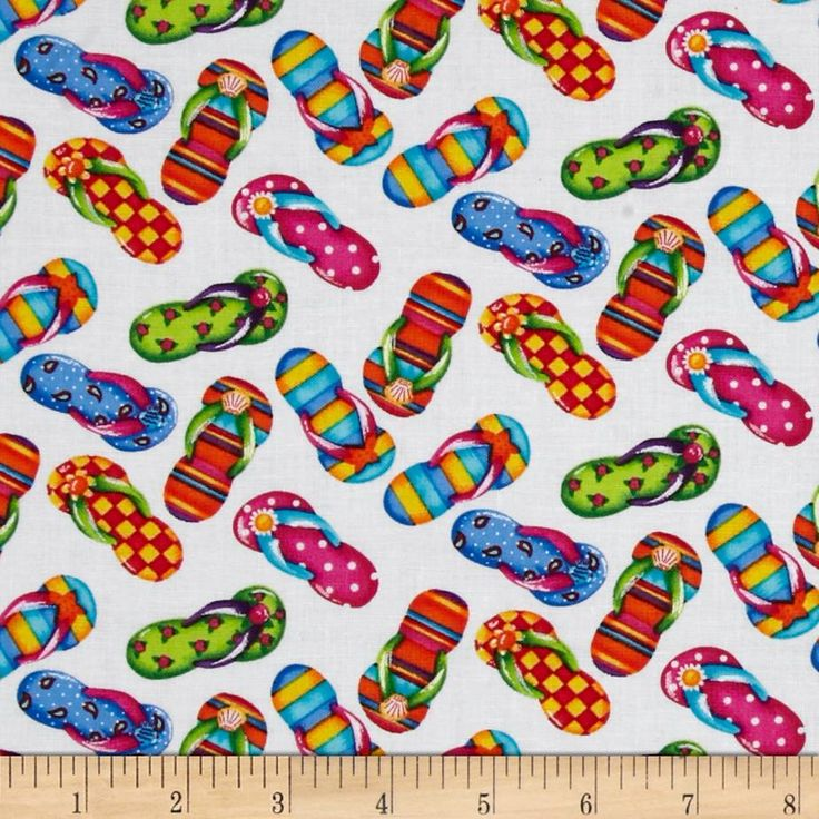 Timeless Treasures Flip Flops White from @fabricdotcom  Designed by Debi Hron for Timeless Treasures, this cotton print fabric is perfect for quilting, apparel and home decor accents. Colors include white, pink, turquoise, yellow, orange, green and blue.